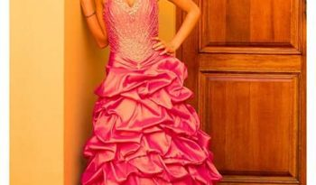 Pink Size 8 Silk Ball Gown full
