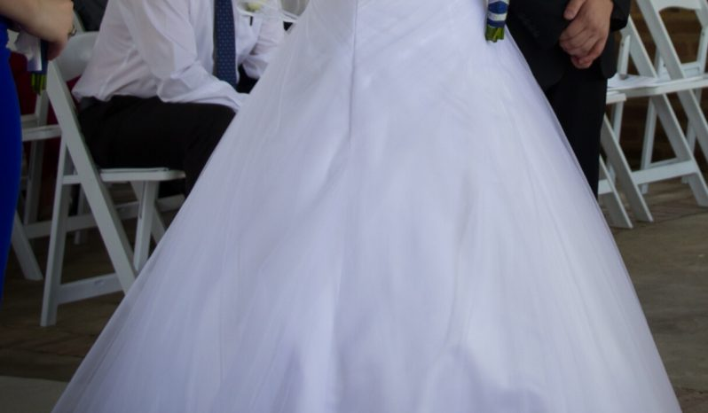 White Size 12 Organza A-Line Dress full
