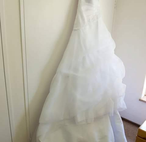White Size 10 Organza A-Line Dress full