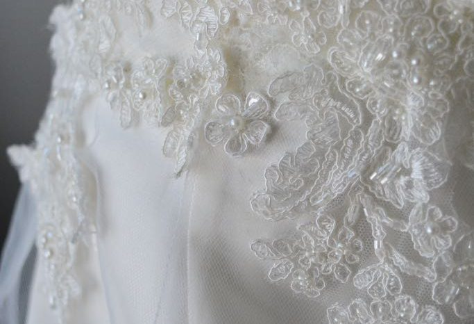 Cream Size 10 Lace Fit & Flare Dress full