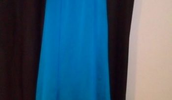 Blue Size 10 Chiffon A-Line Dress full