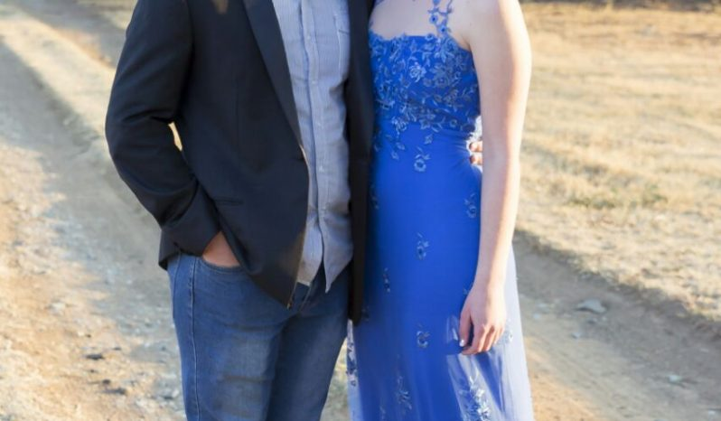 Blue Size 30 Lace Ball Gown full