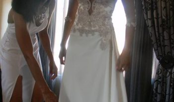 Cream Size 6 Lace Cocktail Dress full